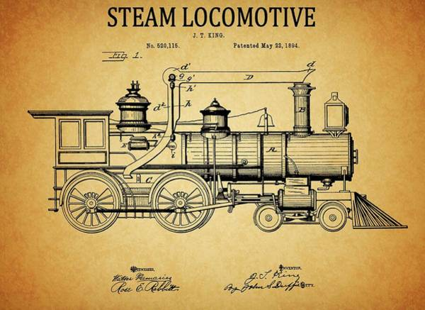 Drawing - 1894 Steam Locomotive Patent by Dan Sproul