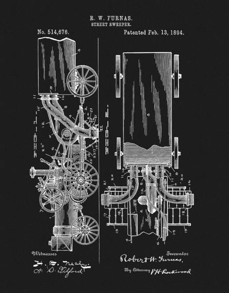 Wall Art - Drawing - 1894 Street Sweeper Patent by Dan Sproul