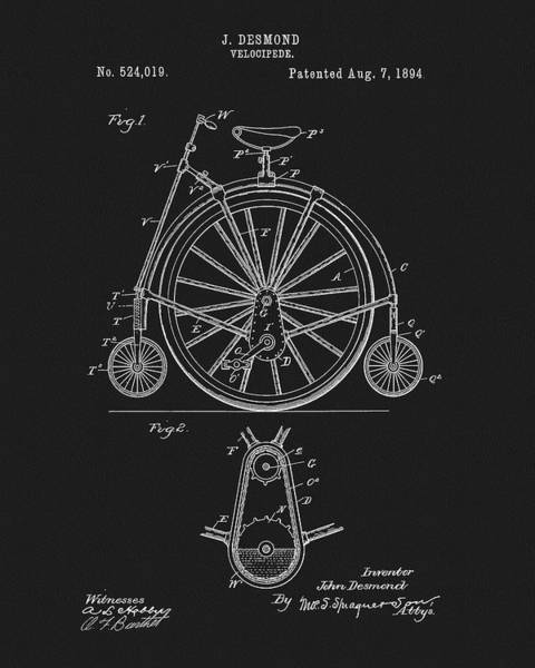 Mixed Media - 1894 Velocipede Patent by Dan Sproul