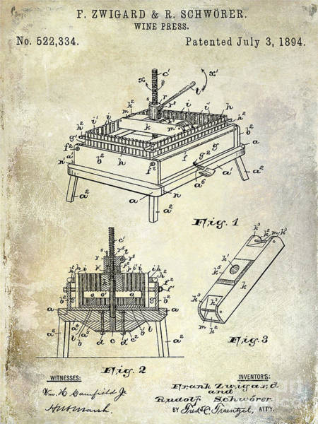 Wine Barrels Photograph - 1894 Wine Press Patent by Jon Neidert