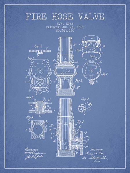 Blueprint Digital Art - 1895 Fire Hose Valve Patent - Light Blue by Aged Pixel
