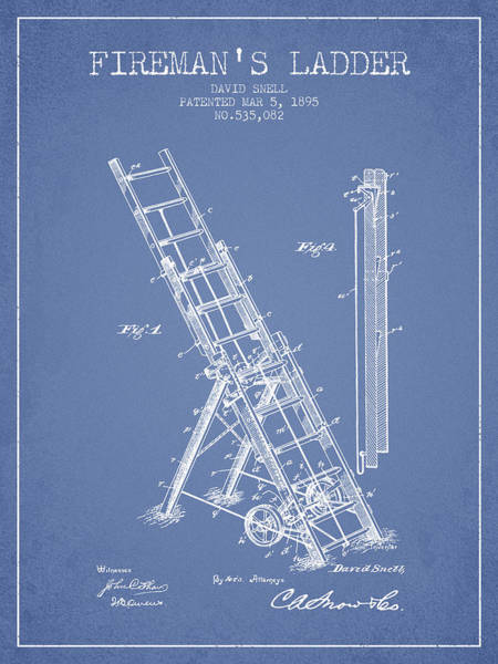 Ladders Photograph - 1895 Firemans Ladder Patent - Light Blue by Aged Pixel