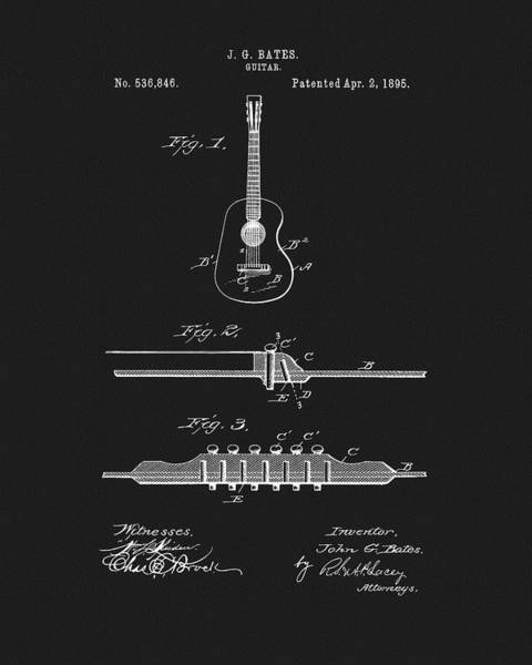 Mixed Media - 1895 Guitar Patent by Dan Sproul