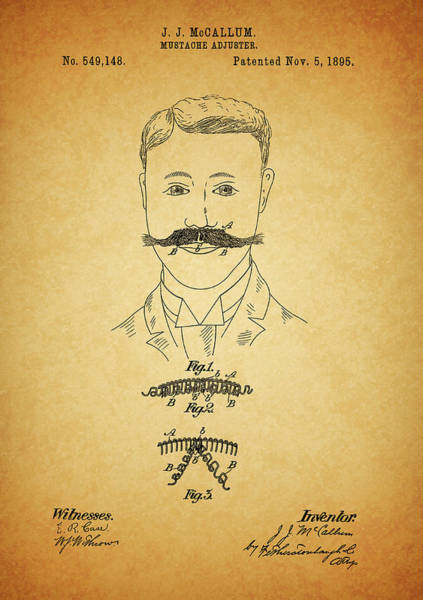 Moustache Mixed Media - 1895 Mustache Adjuster Patent by Dan Sproul