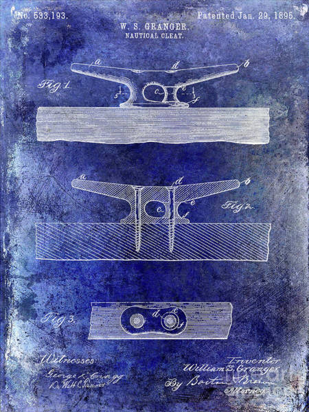 Wall Art - Photograph - 1895 Nautical Cleat Patent Blue by Jon Neidert