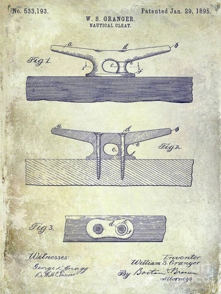 Wall Art - Photograph - 1895 Nautical Cleat Patent by Jon Neidert