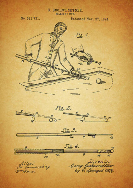 Wall Art - Mixed Media - 1894 Billiards Cue Patent by Dan Sproul