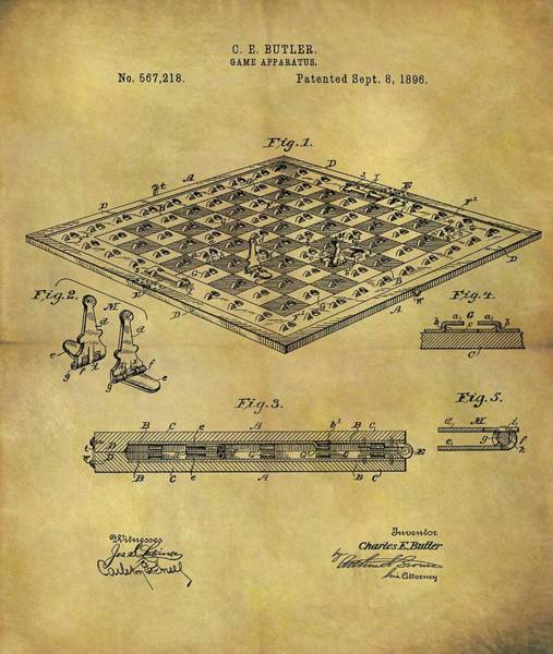 Wall Art - Drawing - 1896 Chess Set Patent by Dan Sproul