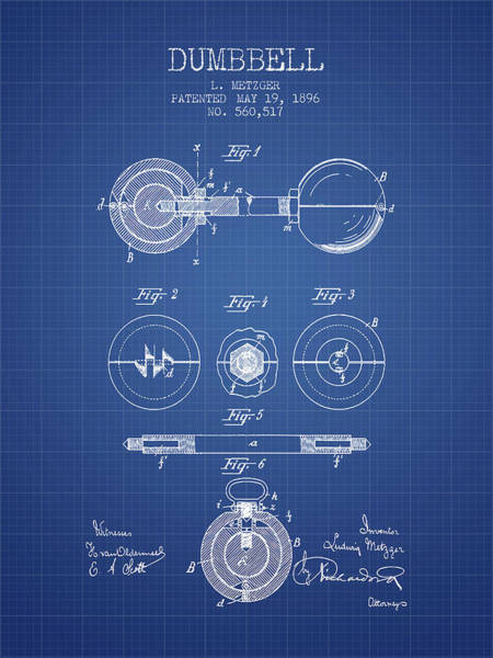1896 Dumbbell Patent Spbb03_bp Art Print
