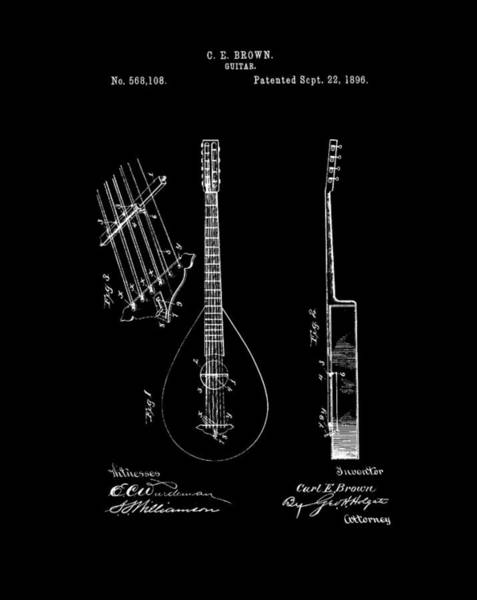 Wall Art - Drawing - 1896 Guitar Patent by Dan Sproul