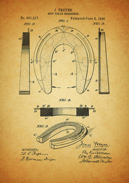 Wall Art - Mixed Media - 1896 Horseshoe Patent by Dan Sproul