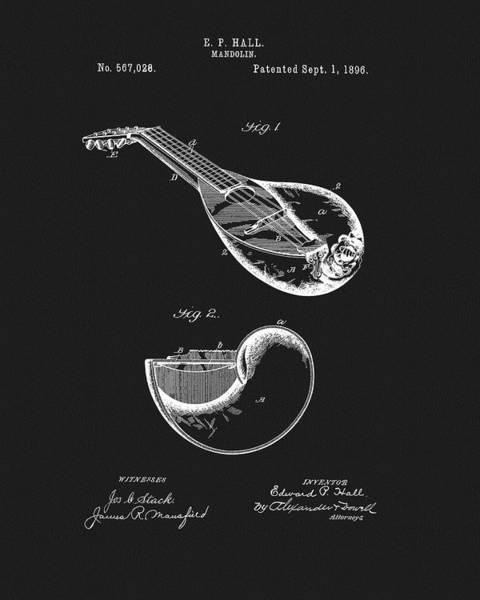 Wall Art - Mixed Media - 1896 Mandolin Patent by Dan Sproul