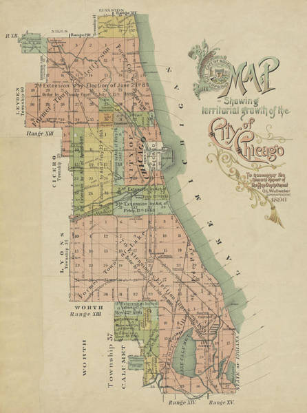 Photograph - 1896 Map Showing Territorial Growth Of The City Of Chicago by Toby McGuire