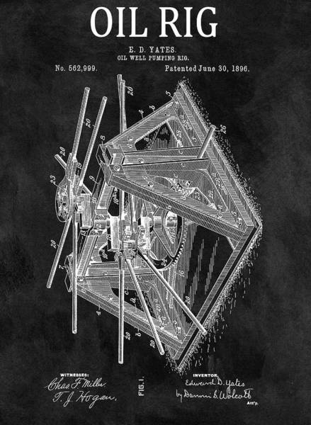 Wall Art - Drawing - 1896 Oil Rig Patent by Dan Sproul