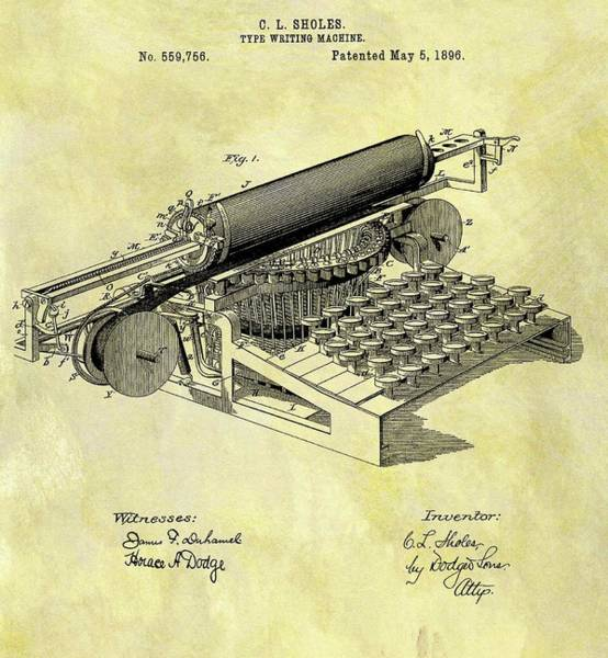 Wall Art - Drawing - 1896 Typewriter Patent by Dan Sproul