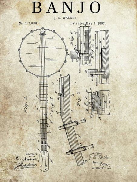 Drawing - 1897 Banjo Patent by Dan Sproul