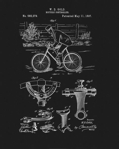 Mixed Media - 1897 Bicycle Patent by Dan Sproul