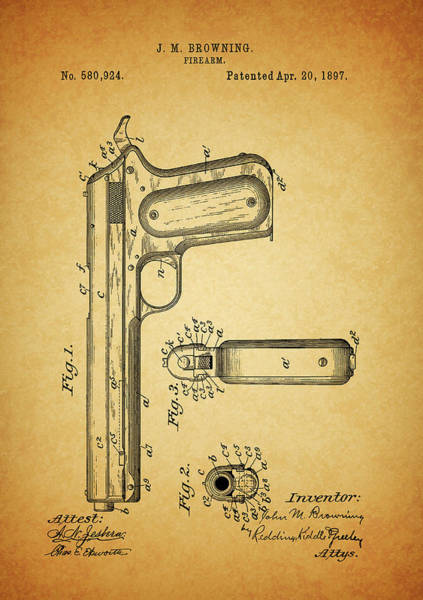 Mixed Media - 1897 Browning Pistol Patent by Dan Sproul