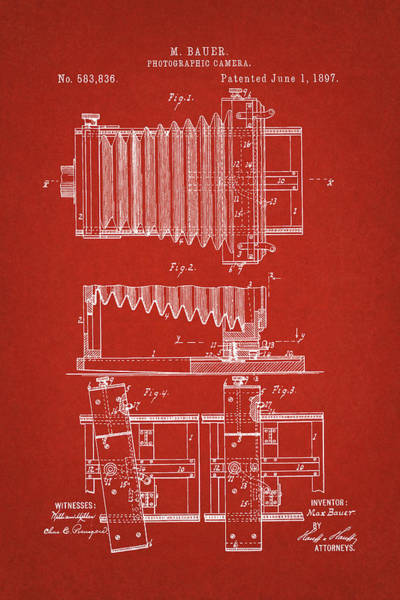 Digital Art - 1897 Camera Us Patent Invention Drawing - Red by Todd Aaron