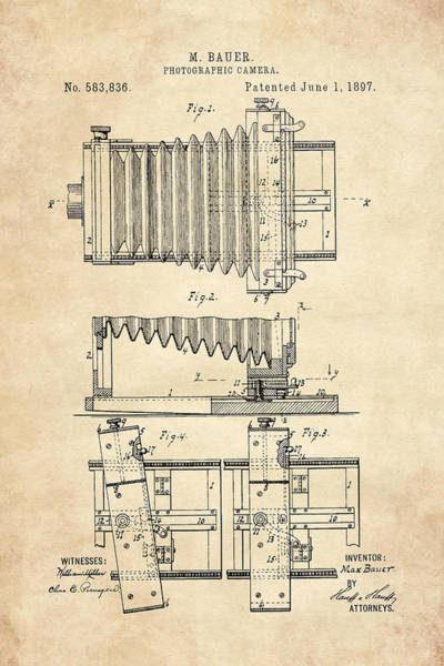 Digital Art - 1897 Camera Us Patent Invention Drawing - Vintage Tan by Todd Aaron