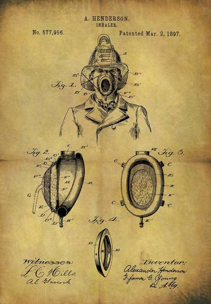 Drawing - 1897 Firefighter's Inhaler Patent by Dan Sproul