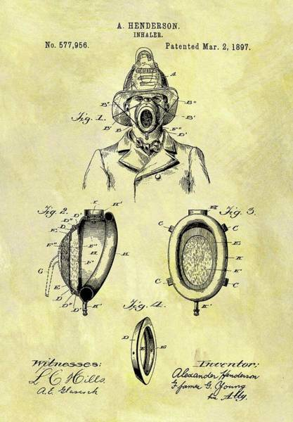 Drawing - 1897 Fireman's Inhaler Patent by Dan Sproul