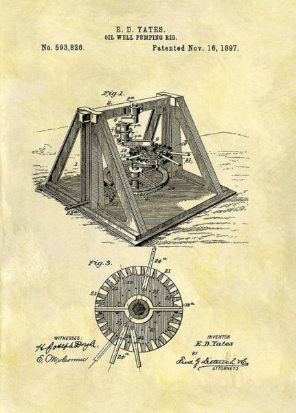 Petroleum Drawing - 1897 Oil Rig Patent by Dan Sproul