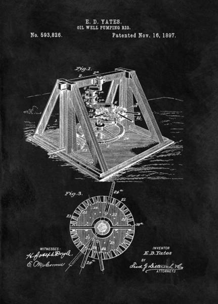 Petroleum Drawing - 1897 Oil Well Rig Patent Design by Dan Sproul