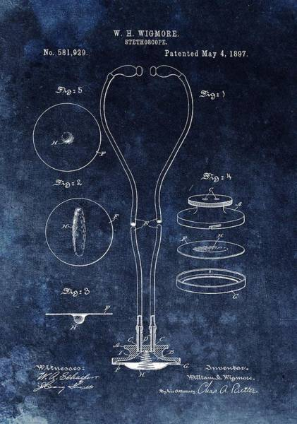 Drawing - 1897 Stethoscope Patent by Dan Sproul