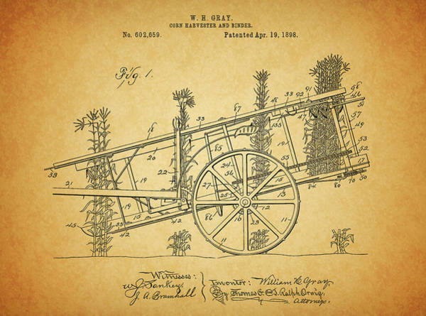 Drawing - 1898 Corn Harvester Patent by Dan Sproul