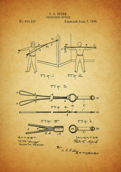 Fitness Mixed Media - 1898 Exercising Device Patent Illustration by Dan Sproul