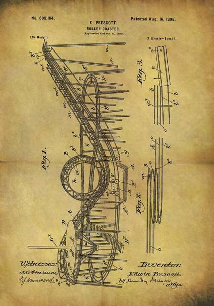 Drawing - 1898 Roller Coaster Patent by Dan Sproul