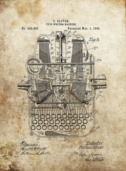 Wall Art - Drawing - 1898 Typewriter Patent by Dan Sproul