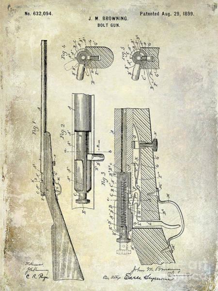 1899 Photograph - 1899 Bolt Gun Patent by Jon Neidert