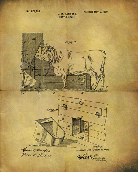 Mixed Media - 1899 Cattle Stall Patent by Dan Sproul