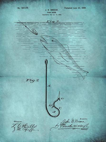 Hook Drawing - 1899 Fishing Hook Patent Blue by Dan Sproul