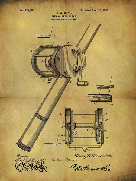 Drawing - 1899 Fishing Reel Patent by Dan Sproul