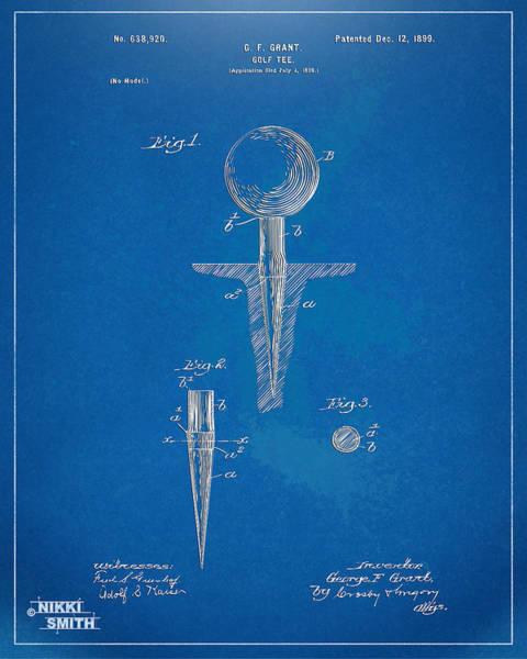 Wall Art - Digital Art - 1899 Golf Tee Patent Artwork - Blueprint by Nikki Marie Smith