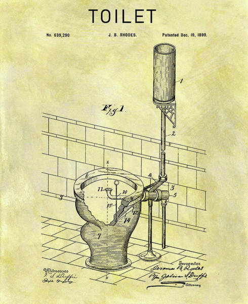 Wall Art - Drawing - 1899 Toilet Patent by Dan Sproul