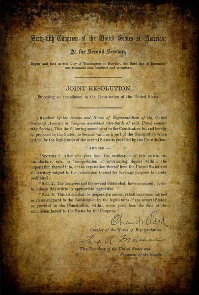 Prohibition Digital Art - 18th Amendment To Constitution - Prohibition by Daniel Hagerman