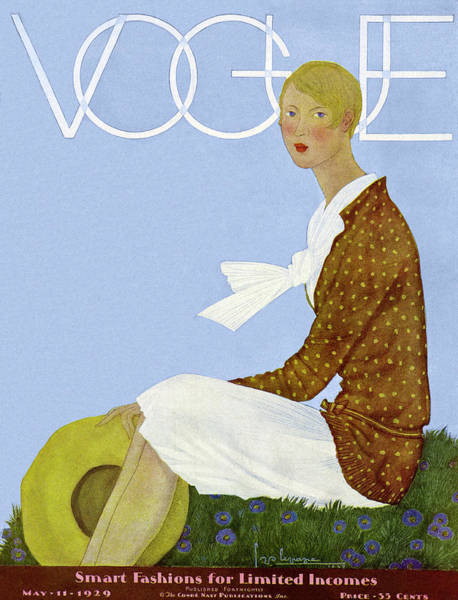 Photograph - A Vintage Vogue Magazine Cover Of A Woman by Georges Lepape