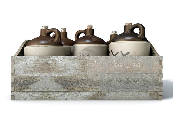 Wall Art - Digital Art - Moonshine In Wooden Crate by Allan Swart