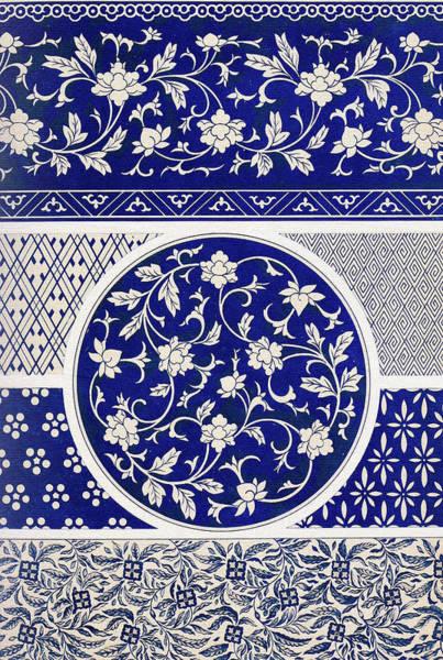 Boho Chic Drawing - Blue Indigo And White Vintage Flowers Pattern Illustration Bohemian Style Wall Art Prints by Wall Art Prints