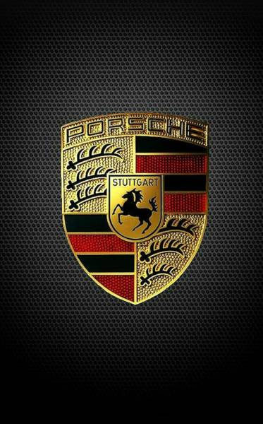 Vehicles Wall Art - Digital Art - Porsche Logo by Max Dedrick