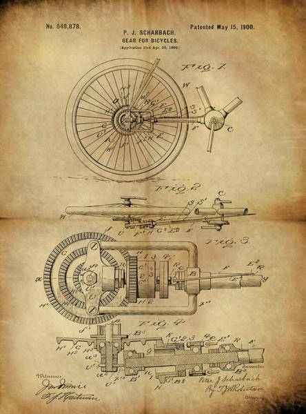 Drawing - 1900 Bicycle Gear Patent by Dan Sproul