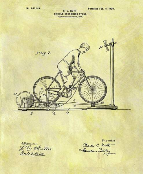 Fitness Mixed Media - 1900 Exercising Bicycle Patent by Dan Sproul