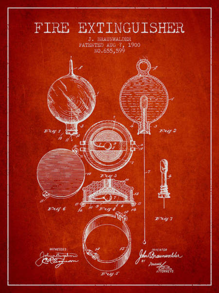 Blueprint Digital Art - 1900 Fire Extinguisher Patent - Red by Aged Pixel