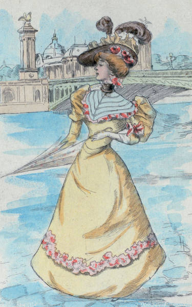 Wall Art - Drawing - 1900 Paris France Fashion Drawing by Movie Poster Prints