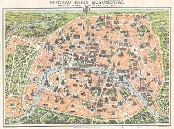 Painting - 1900 Pocket Map Or Plan Of Paris France by Celestial Images