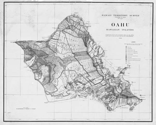1900s Historical Oahu Map In Black And White Art Print